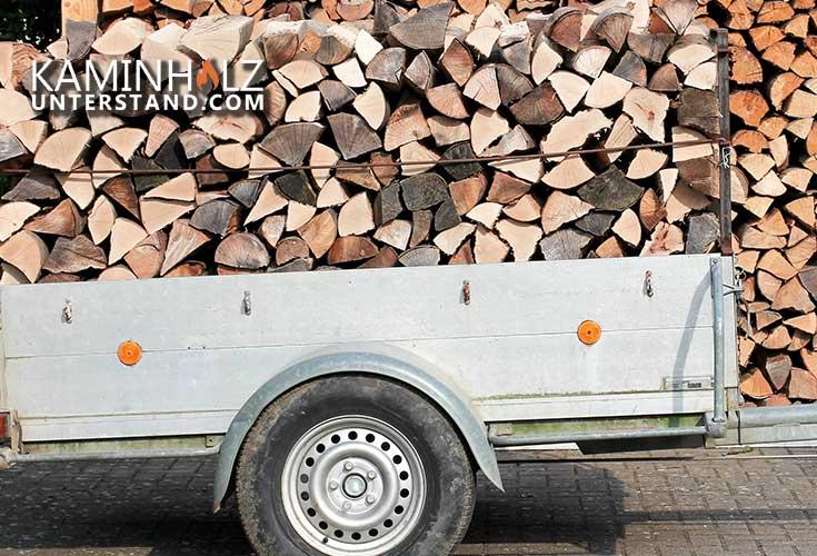 Anhänger mit Holzscheiten vor Kaminholzregal Metall